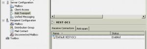 SBS2008 default receive connector