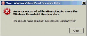 SharePoint Services data move error