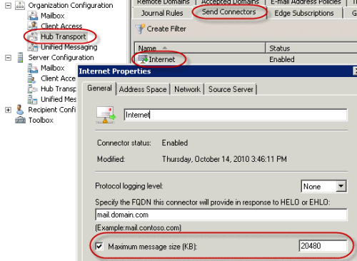 Howto: Configure Send and Receive limits for Exchange 2007