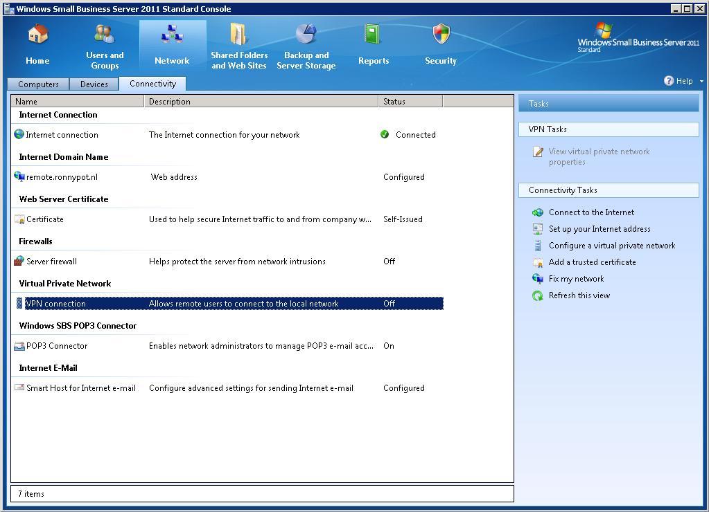 Configure vpn server sbs 2011