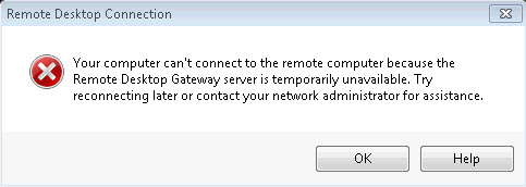 Can't connect to the remote computer because the Remote Desktop