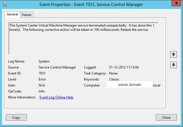 System Center Virtual Machine Manager 2012 SP1 service (vmmservice
