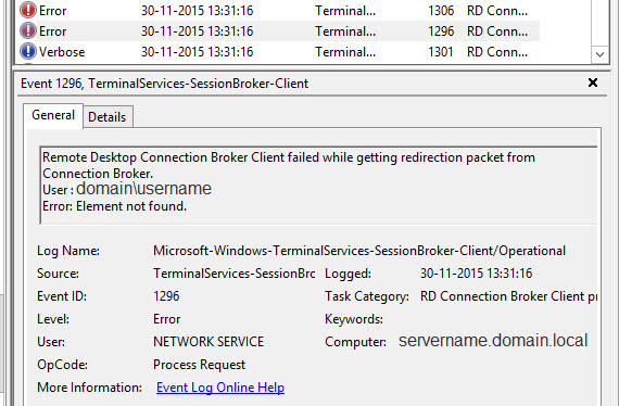 Remote desktop connection broker client failed to redirect